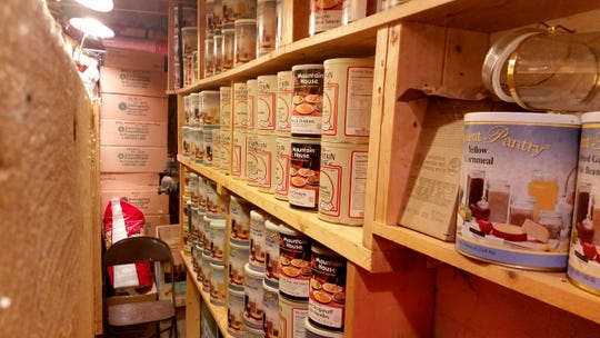 Canned food sits on shelves in a barn near Garretsville, Ohio.