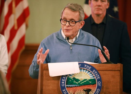 Ohio Gov. Mike DeWine at a coronavirus news conference Saturday, March 14, 2020 at the Ohio Statehouse in Columbus.