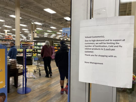Notice posted at Kroger in Dearborn on Thursday.