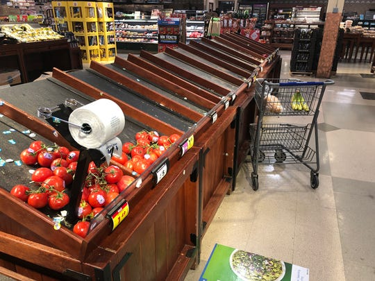 Customers wiped out much of the produce at a Kroger store in Grosse Pointe Woods on Friday.