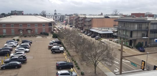 An overhead view of Oxford, Mississippi on March 14, 2020, the first Saturday after the country began closing down institutions amid coronavirus fears.