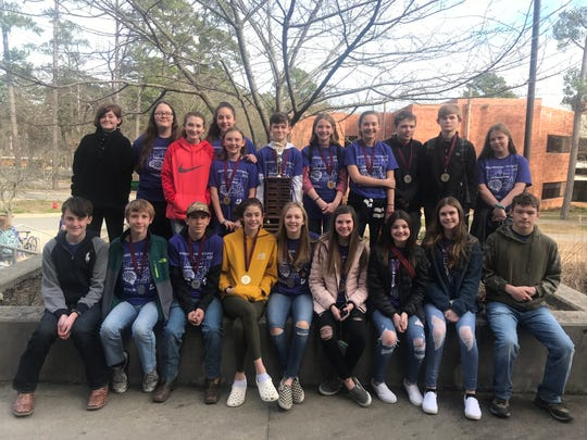 Norfork's STEAM Team, which is composed of 6th, 7th, and 8th graders, placed first at the Engineering Olympics held at the University of Arkansas Little Rock on Feb. 22. The team' placed first and second in Aeroracers, first in Freestanding Structure, and fourth in Critical Thinking skills. The team is coached by Brandy Sallee. Pictured above are (back row, from left) Jenny Markell, Emily Woods, Grayson Havner, Arinne Woody, Ramah Brison, Jackson Davis, Shelby Free, Taylor Ferretti, Cody Lansdown, Lincoln Havner, and Charlotte Moore, (front row, from left) Preston Seay, Carson Beavers, Erik Foster, Keely Blanchard, Kaylynn Chapman, Kasey Moody, Hollyn Bradbury, Liza Shaddy, and Jimmy Foster.