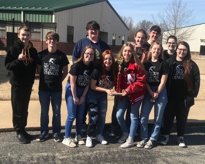 The Norfork senior high quiz bowl team placed first in Regionals at Ridgefield Christian Academy on March 7.  Andrew Ruegsegger was named tournament MVP, and he along with Madison Hall made All-Tournament Team, which qualifies them to compete at All-Stars later in the school year. The team will go on to compete at State in Morrilton on April 4. Norfork is coached by Stacy Havner and Pam Braun. Pictured above are (back row, from left)  Jesse Maple, Trakker Estes, Billy Branscum, Andrew Ruegsegger, Elliott Ruegsegger, Olivia Gonzalez, (front row from left) Ashton Beavers, Madison Hall, Amber Weber, Jessica Weber and Emily Sechrest.
