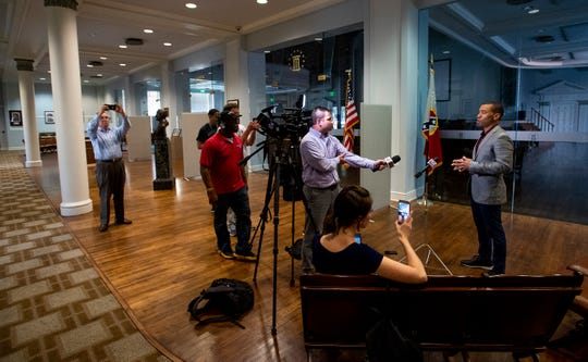 Montgomery Mayor Steven Reed talks with the media at city hall in Montgomery, Ala., on Sunday March 15, 2020.