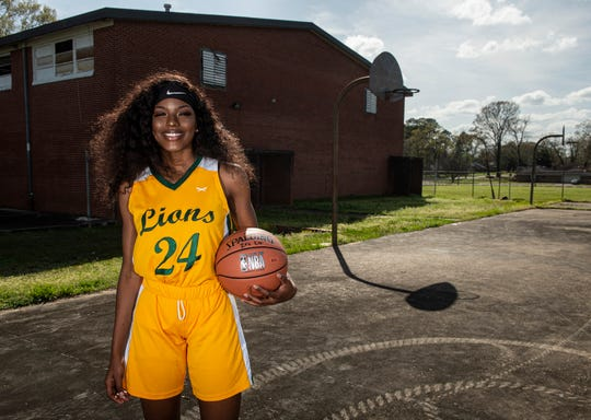 All-Metro athlete Central-Hayneville's Cordasia Harris poses for a portrait in Montgomery, Ala., on Thursday, March 12, 2020.