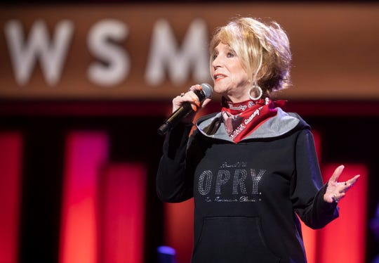 Jeannie Seely performs during the Grand Ole Opry broadcast on WSM Radio without a live audience at The Grand Ole Opry House Saturday, March 14, 2020.