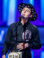 Sam Williams performs during the Grand Ole Opry broadcast on WSM Radio without a live audience at The Grand Ole Opry House Saturday, March 14, 2020.