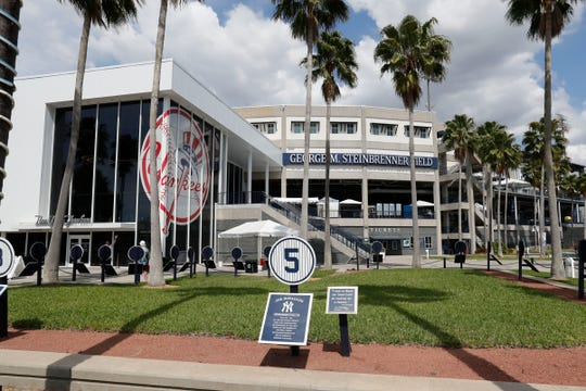 George M. Steinbrenner Field is seen, Friday, March 13, 2020 in Tampa, Fla. Major League Baseball has suspended the rest of its spring training game schedule because if the coronavirus outbreak. MLB is also delaying the start of its regular season by at least two weeks. (AP Photo/Carlos Osorio)
