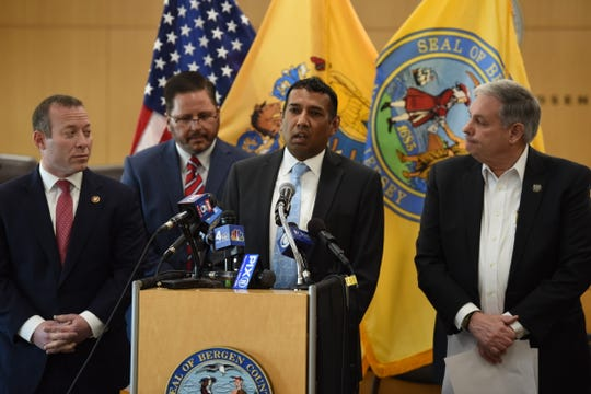 Teaneck Mayor Mohammed Hameeduddin speaks on the recent developments in connection with COVID-19 during a news conference at One Bergen County Plaza in Hackensack on 03/15/20.