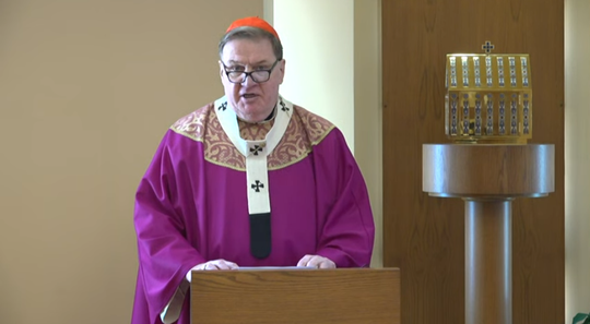 Cardinal Tobin of the Newark Archdiocese gives a homily on the impact of coronavirus during a livestream of Mass on Sunday, March 15, 2020.