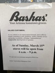 Bashas' announced they will be changing their hours on March 15.