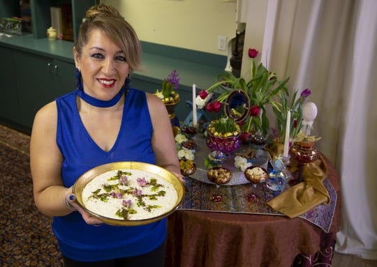 Caterer Vida Shahbazi, prepares shir berenj, rice pudding Persian style, at Arizona Persian Culture Center in Scottsdale on March 11, 2020.
