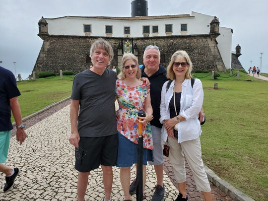 From left to right, Jim Hasten, his wife Kathi, Mike Gold, Anne Gold; four friends touring Salvador before two passengers were removed from the cruise ship after showing symptoms of Coronavirus