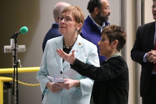 U.S. Rep. Marcy Kaptur, D-Toledo, and Marla Pérez-Davis, director of NASA Glenn Research Center, discuss the Orion Artemis 1 spacecraft at NASA Plum Brook Station on Saturday.