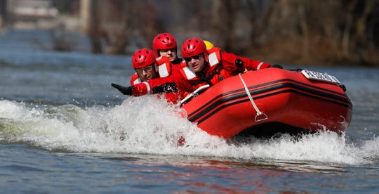 Rescuers from five departments learn and practice emergency boat operations and water rescue skills on the Susquehanna River during a class taught by Todd Stahl of Whitecap Water Rescue Training, Sunday, March 15, 2020. John A. Pavoncello photo