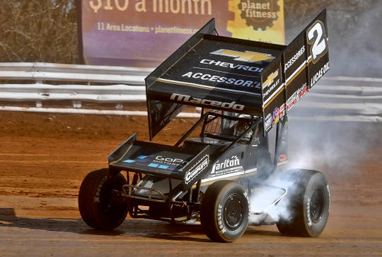 World of Outlaws driver Carson Macedo scores his first career victory at Williams Grove Speedway, Sunday, March 15, 2020. John A. Pavoncello photo
