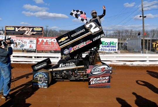 World of Outlaws driver Carson Macedo celebrates his first Williams Grove Speedway victory, Sunday, March 15, 2020. John A. Pavoncello photo