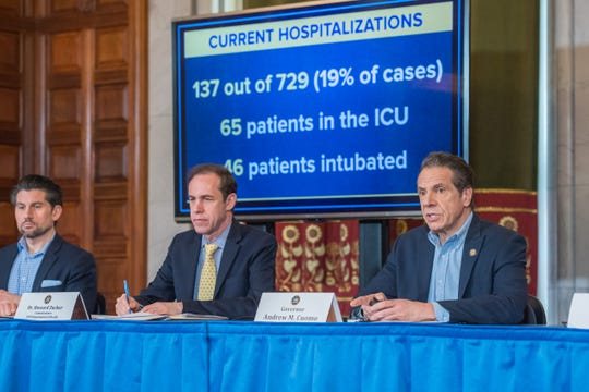 Gov. Andrew Cuomo holds a briefing on Coronavirus on March 15, 2020, as cases swelled to 729 cases and 3 deaths statewide