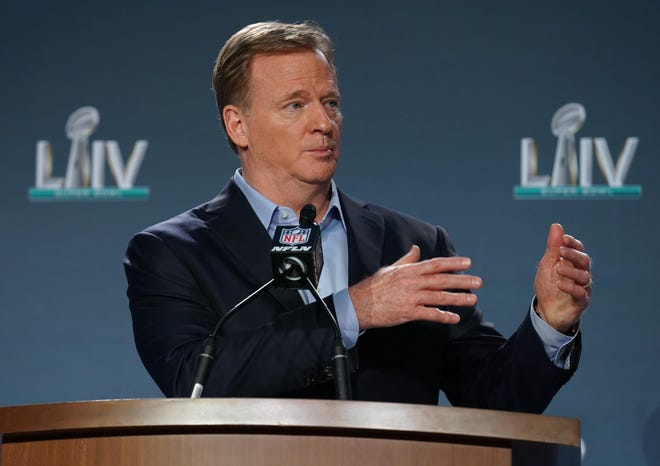 NFL Commissioner Roger Goodell, shown speaking at the Super Bowl, now runs a league that will have labor peace through 2030.