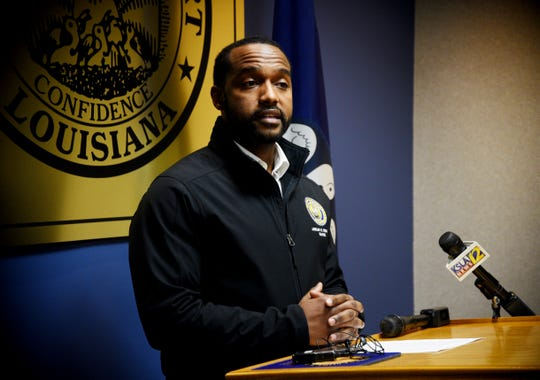 Shreveport Mayor Perkins during a press conference Sunday evening.