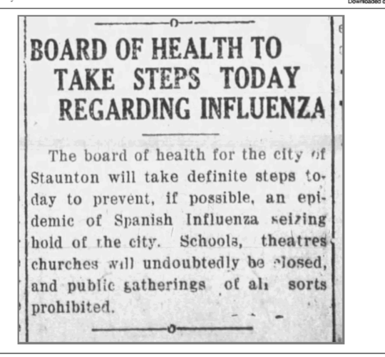"1918 clipping from a Staunton, Virginia newspaper during the ""Spanish Flu"" pandemic."