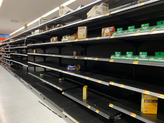 Visalia's Walmart Supercenter completely sold out of toilet paper and pantry items on March 14. 2020.