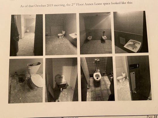 Pictures taken in October 2019 on the second-floor of Big Blue, attached to court documents filed by Workforce Solutions in response to a lawsuit against them by Big Blue management. The nonprofit claims the offices on the second and third floors that they were supposed to occupy were not complete.