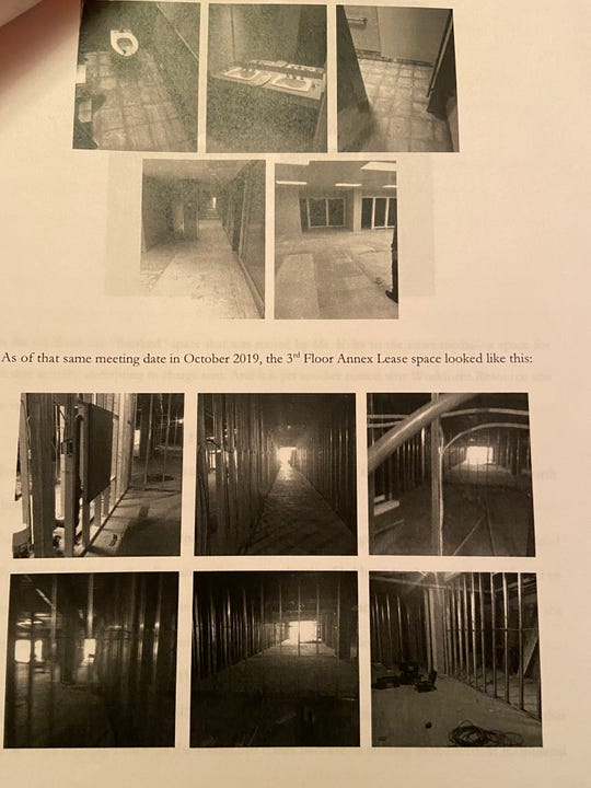 Pictures taken in October 2019 on the third-floor of Big Blue, attached to court documents filed by Workforce Solutions in response to a lawsuit against them by Big Blue management. The nonprofit claims the offices on the second and third floors that they were supposed to occupy were not complete.