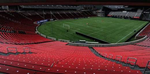 A view of an empty Nippert Stadium following the suspension of the Major League Soccer regular season due to COVID-19 concerns. FC Cincinnati was set for the home opener against DC United on March 14, 2020.