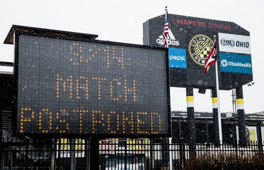 A general view of signage at MAPFRE Stadium related to the suspension of the MLS season due to the COVID-19 virus on March 14, 2020.
