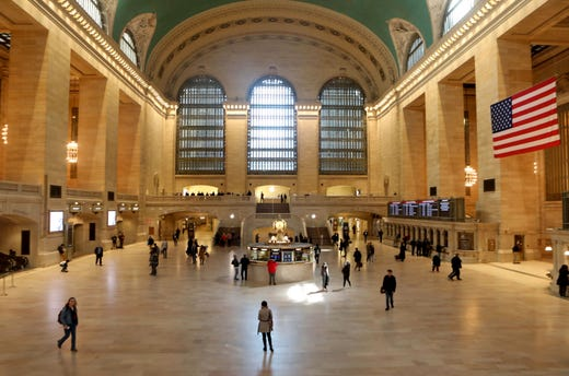 Even for a typically slow Sunday afternoon Grand Central Terminal in New York City was quieter than usual March 15, 2020 as Coronavirus concerns kept travelers and tourists off the streets and away from popular destinations in the city.