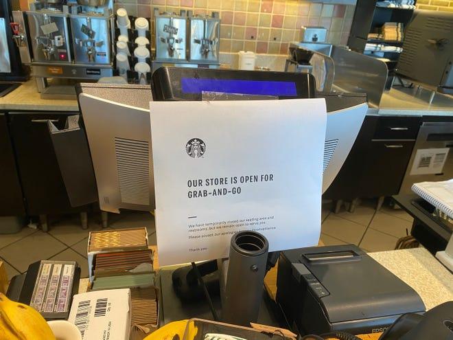 A Starbucks location in California removed seats in response to coronavirus.