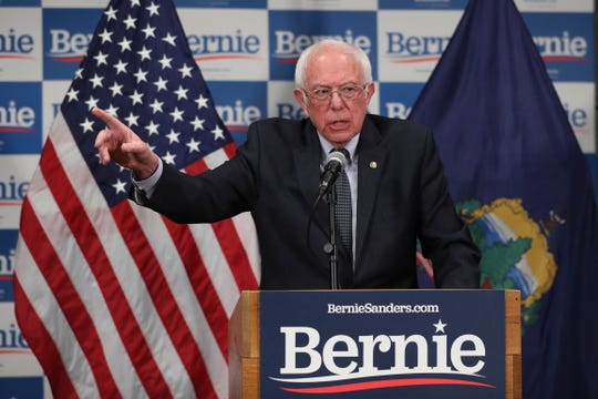 Sen. Bernie Sanders speaks to reporters about coronavirus on  March 12, 2020, in Burlington, Vt.