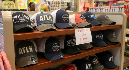 Detailed view of discounted merchandise being sold on March 14, 2020 at a store in the CNN Center in Atlanta after the NCAA men's basketball Final Four was cancelled due to the coronavirus.