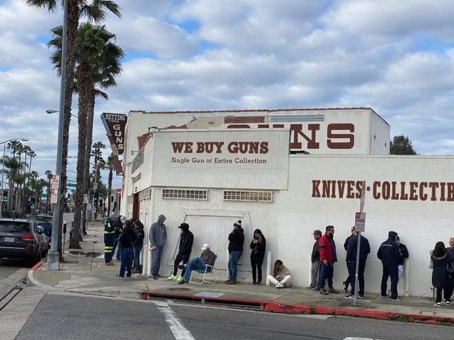 Line forms outside the Martin Retting Guns store in Culver City, California.