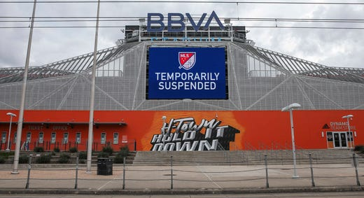 A general view of BBVA Stadium as a match between the Seattle Sounders and the Houston Dynamo is postponed on March 14, 2020.
