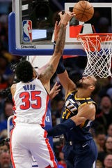 Christian Wood and the Pistons played Rudy Gobert and the Jazz on March 7.