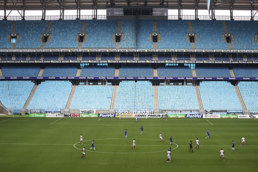 General view during the match between Gremio and Sao Luiz as part of the Rio Grande do Sul State Championship 2020, to be played behind closed doors at Arena do Gremio Stadium, on March 15, 2020 in Porto Alegre, Brazil.