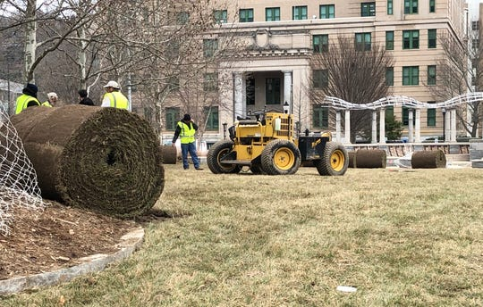The city of Asheville is replacing the sod at Pack Square Park, in front of the Buncombe County Courthouse and City Hall. The area hosts a lot of events annually, resulting in a lot of wear on the grass.