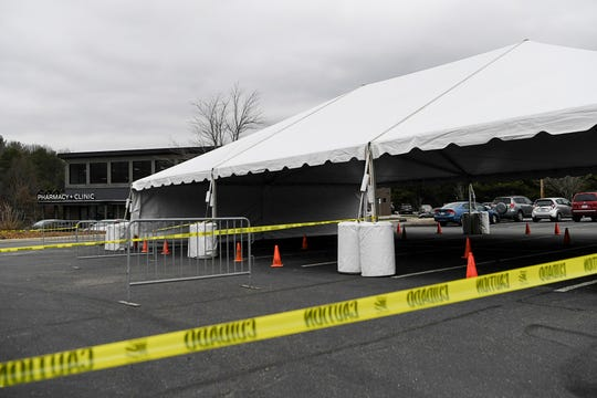 The Sona Clinic had a tent prepared to perform drive-thru COVID-19 testing March 16, 2020 in Asheville.