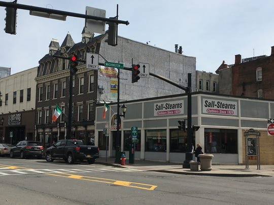 The corner of Court Street and Washington Street in Binghamton on Monday. Starting at 8 p.m., restaurants and bars in New York will be limited to takeout and delivery service only.