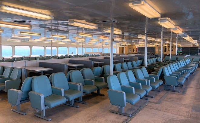 A nearly empty cabin of the 10 a.m. sailing of the Washington State Ferry Kaleetan from Seattle to Bremerton on March 16.