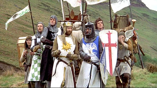 """In """"Monty Python and the Holy Grail,"""" the English comedy troupe lampooned Arthurian legends ... without horses."""