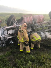 A dump truck overturned off U.S. Highway 192 west of Melbourne early Monday March 16, 2020, according to Brevard County Fire Resuce.