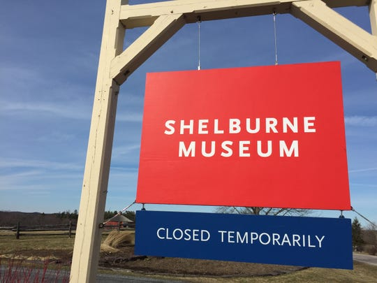 A sign at the Shelburne Museum on March 16, 2020 announces that the grounds are temporarily closed to the public.