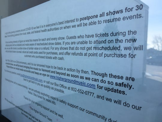 A sign on the front door at Higher Ground on March 14, 2020 tells patrons about the South Burlington music venue's temporary closure as a result of the coronavirus outbreak.