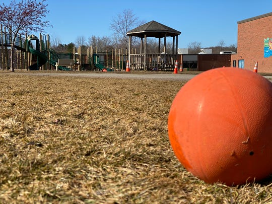 Balls and playground equipment go unplayed with as schools across the area close. Shelburne Community School closed March 16, 2020.