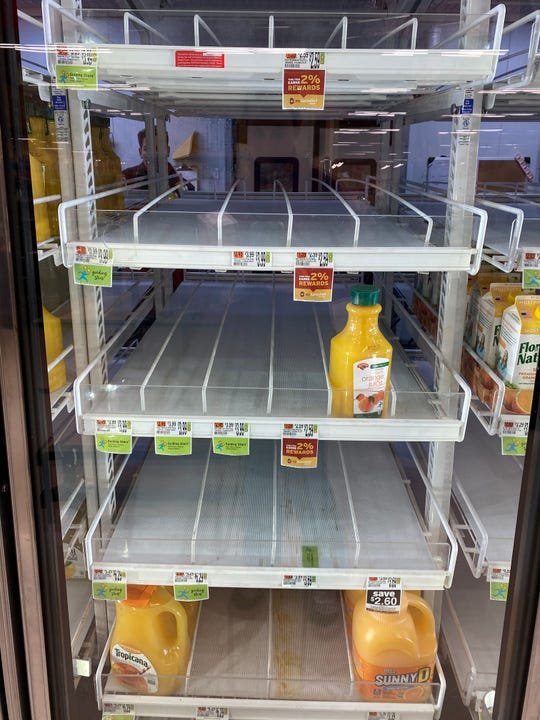Orange Juice was in sparse supply. Bare shelves at grocery stores like this Williston Hannaford on March 15, 2020 show what is most popular with shoppers staying home to ward off COVID-19.