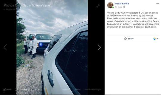 San Patricio County Sheriff Oscar Rivera said a man's body was found in a ditch on Farm-To-Market Road 666 near San Patricio and the Nueces River on Monday, March 16, 2020.