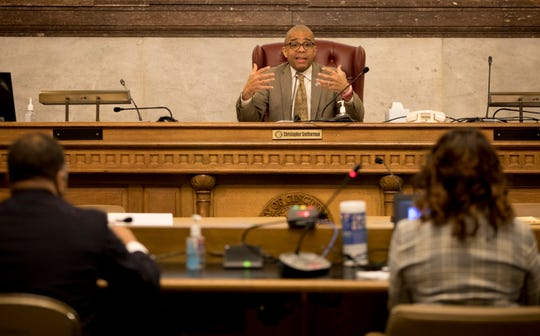 Vice Mayor Christopher Smitherman speaks during the Cincinnati City Council's Law and Public Safety Committee meeting where she was presenting on Monday, March 16, 2020 at City Hall.
